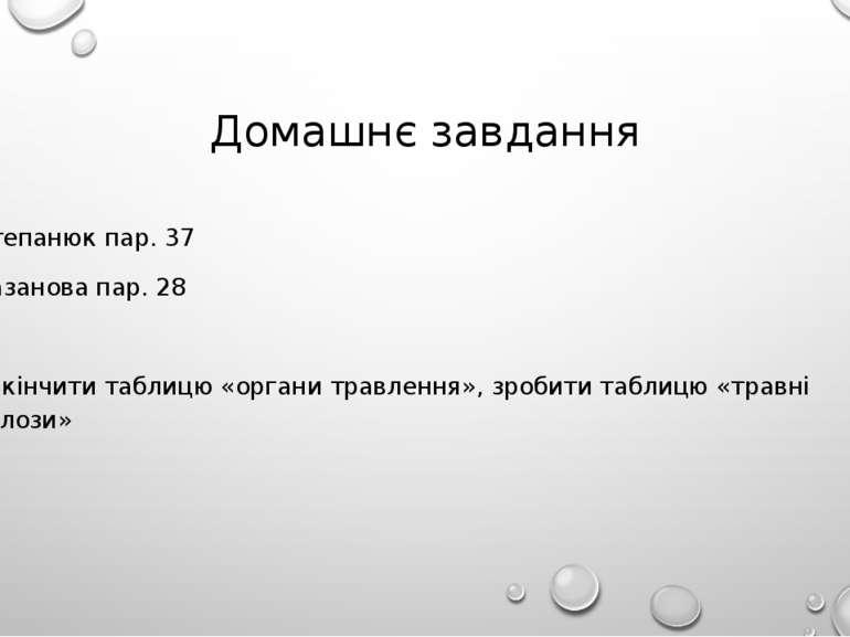 Домашнє завдання Степанюк пар. 37 Базанова пар. 28 Закінчити таблицю «органи ...