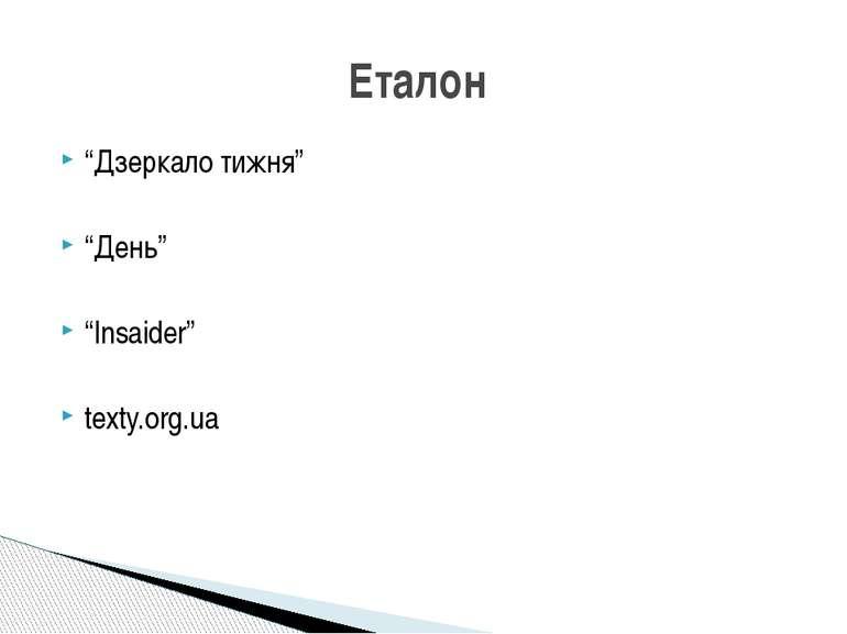 """Дзеркало тижня"" ""День"" ""Insaider"" texty.org.ua Еталон"