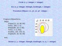 Circle (x, y: integer; r: integer) Arc (x, y: integer; StAngle, EndAngle, r: ...