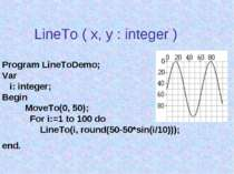 LineTo ( x, y : integer ) Program LineToDemo; Var i: integer; Begin MoveTo(0,...