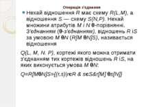 Операція з'єднання Нехай відношення R має схему R(L,М), а відношення S — схем...