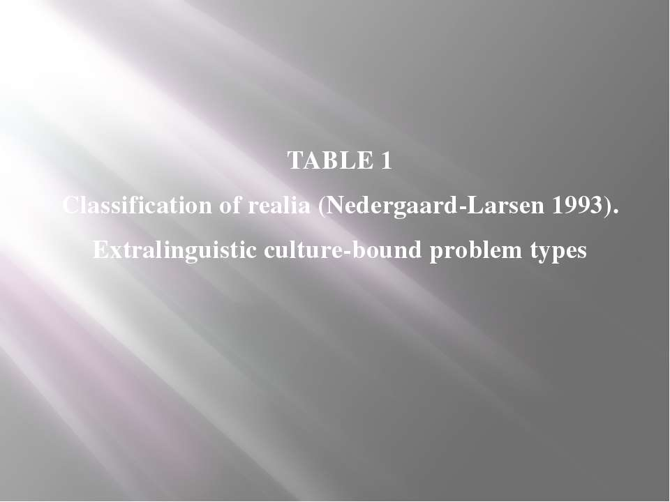 TABLE 1 Classification of realia (Nedergaard-Larsen 1993). Extralinguistic cu...