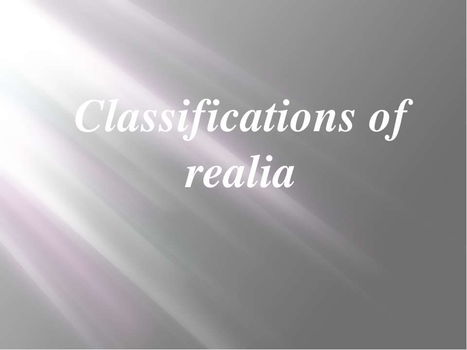 Classifications of realia