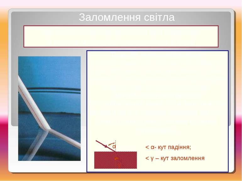 Це зміна напрямку променя при переході з одного прозорого середовища в інше З...