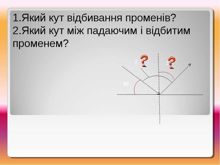 1.Який кут відбивання променів? 2.Який кут між падаючим і відбитим променем? ...