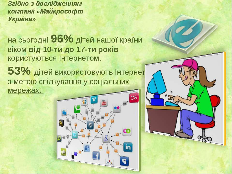 Згідно з дослідженням компанії «Майкрософт Україна» на сьогодні 96% дітей наш...