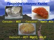 Природні сполуки Калію Сильвін – КCl Сильвініт – NaCl ∙ КCl Карналіт – КCl ∙ ...