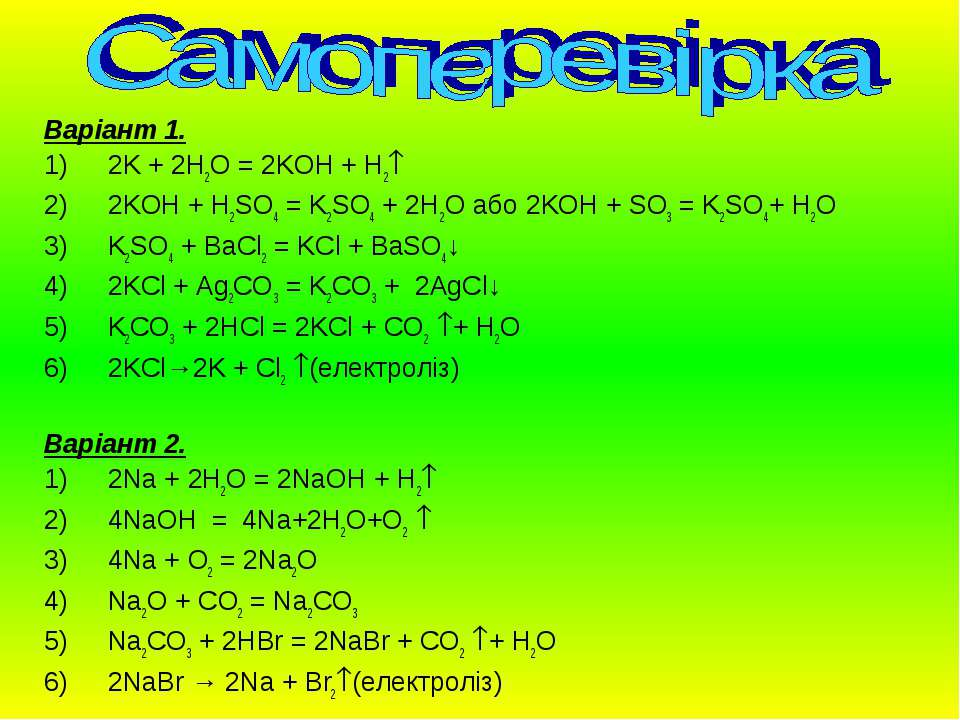 Варіант 1. 2K + 2H2O = 2KOH + H2 2KOH + H2SO4 = K2SO4 + 2H2O або 2KOH + SO3 =...