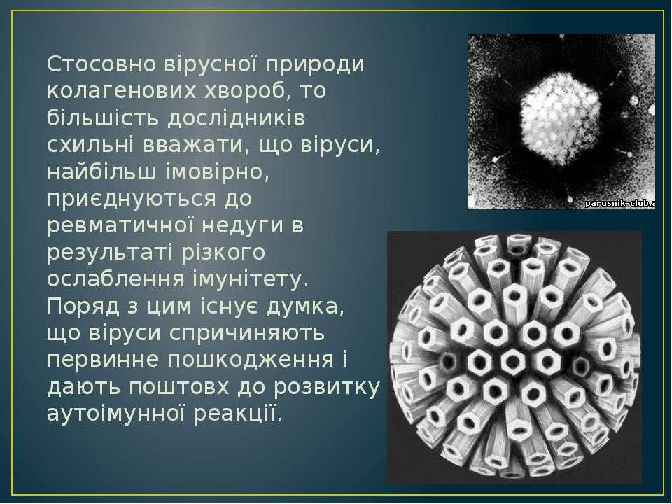 Стосовно вірусної природи колагенових хвороб, то більшість дослідників схильн...