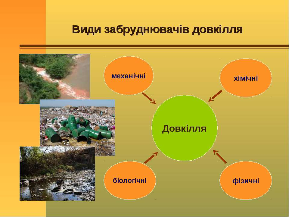 Види забруднювачів довкілля Довкілля механічні біологічні хімічні фізичні