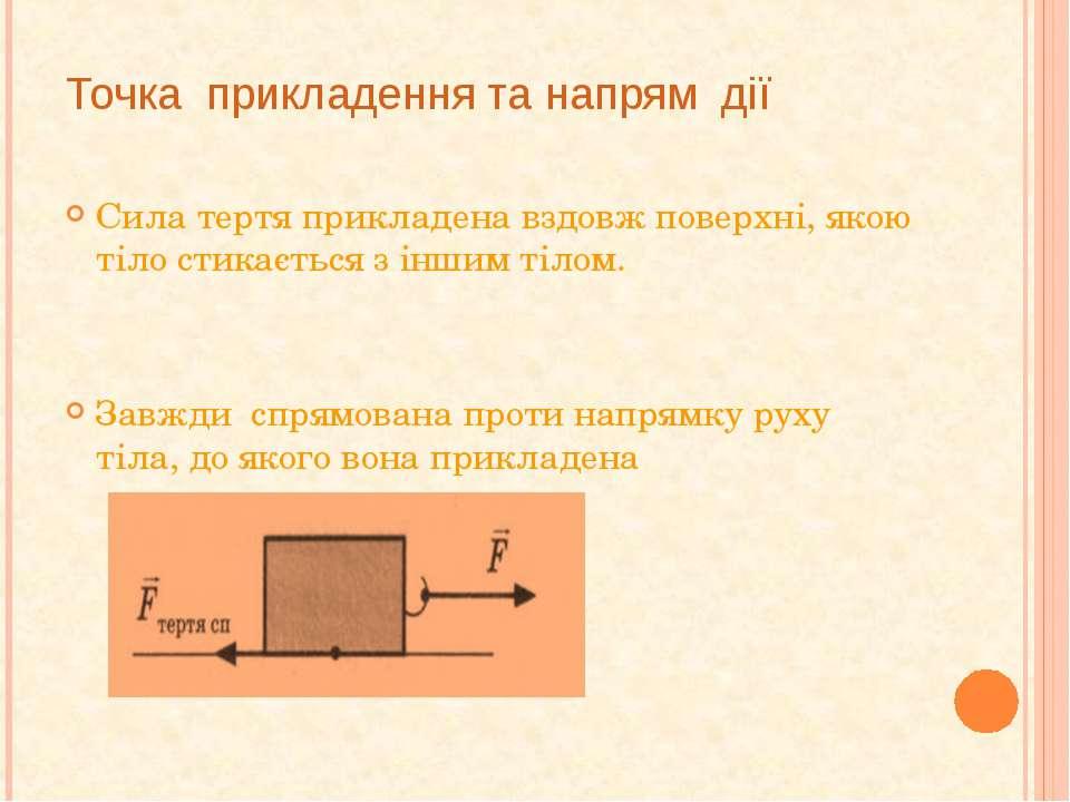 Точка прикладення та напрям дії Сила тертя прикладена вздовж поверхні, якою т...