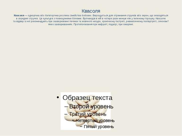 Квасоля Квасоля— однорічна або багаторічна рослина сімейства бобових. Вирощу...