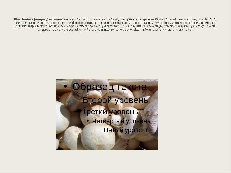 Шампіньйони (печериці) Шампіньйони (печериці)— культивований гриб збілою шл...