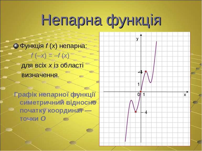 Непарна функція Функція f (x) непарна: f (–x) = –f (x) для всіх x із області ...