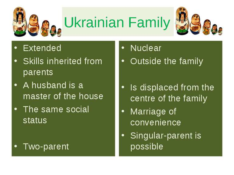 Ukrainian Family Extended Skills inherited from parents A husband is a master...