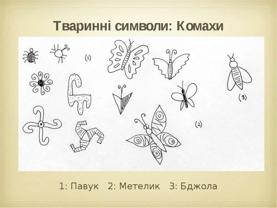Тваринні символи: Комахи 1: Павук 2: Метелик 3: Бджола
