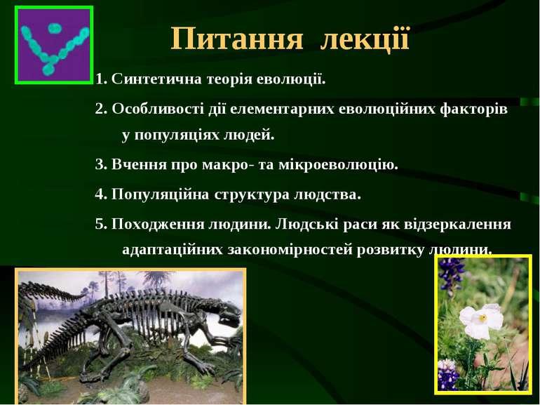 Питання лекції 1. Синтетична теорія еволюції. 2. Особливості дії елементарних...