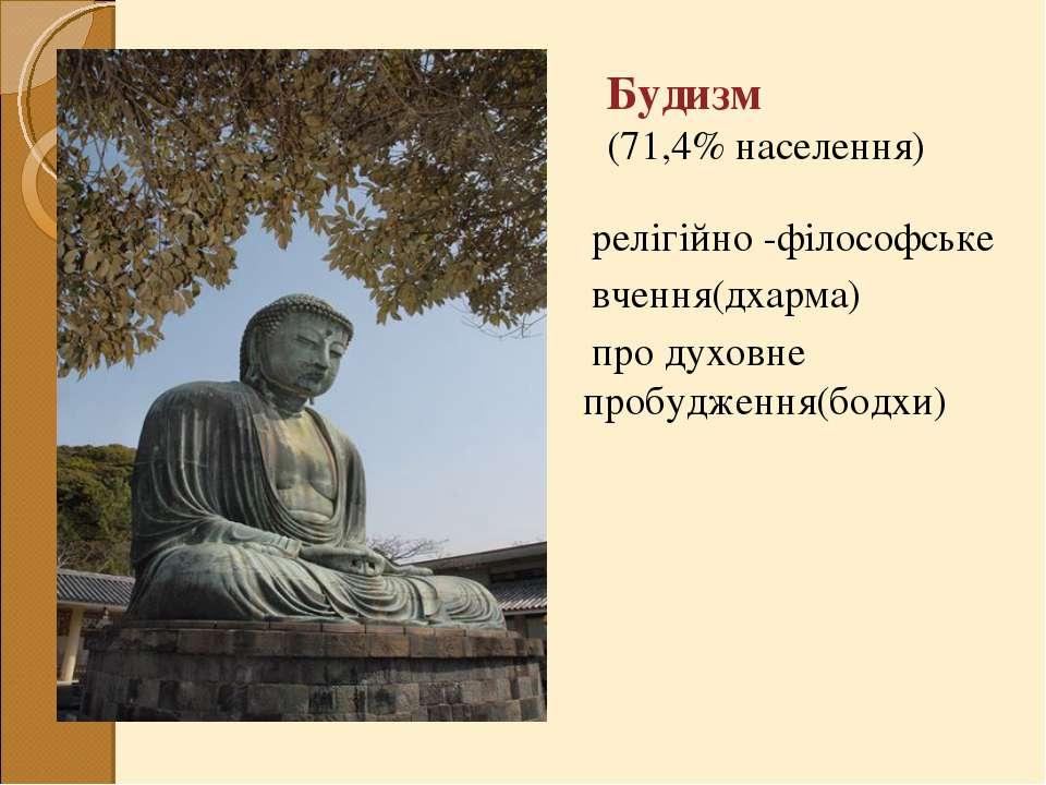 релігійно -філософське вчення(дхарма) продуховне пробудження(бодхи) Будизм...