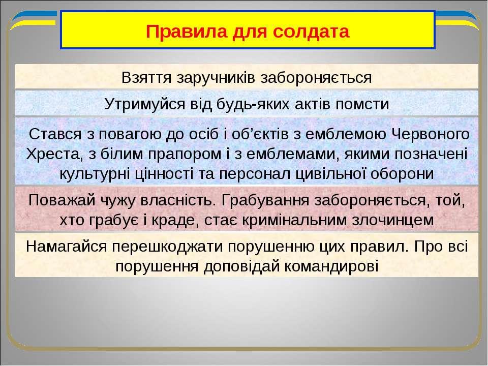 Правила для солдата Взяття заручників забороняється Утримуйся від будь-яких а...