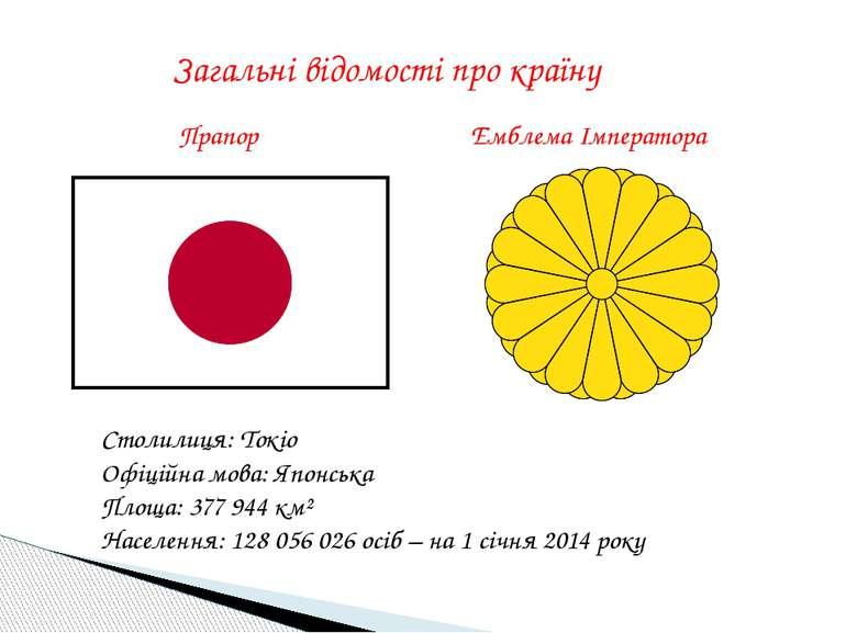 Загальні відомості про країну Прапор Емблема Імператора Столилиця: Токіо Офіц...