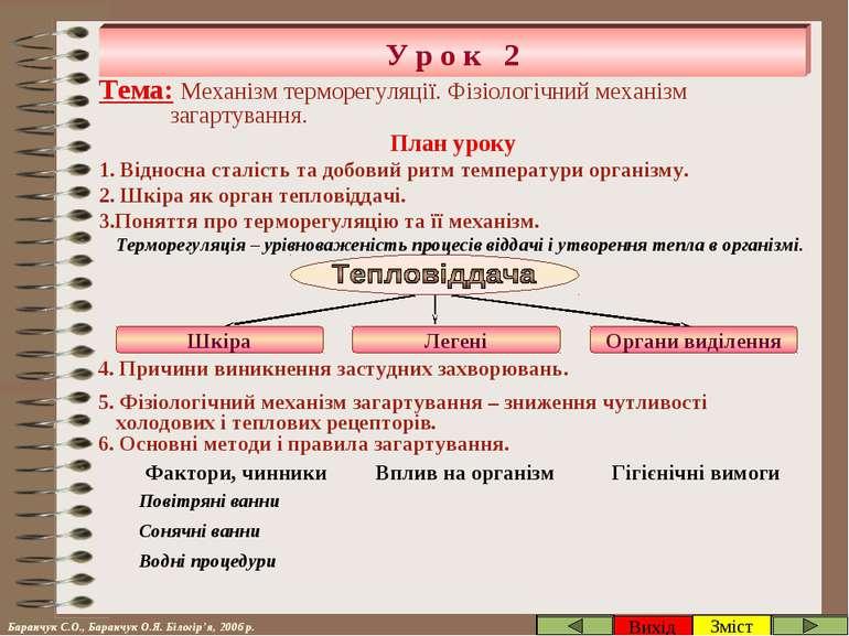 У р о к 2 Зміст Вихід Тема: Механізм терморегуляції. Фізіологічний механізм з...