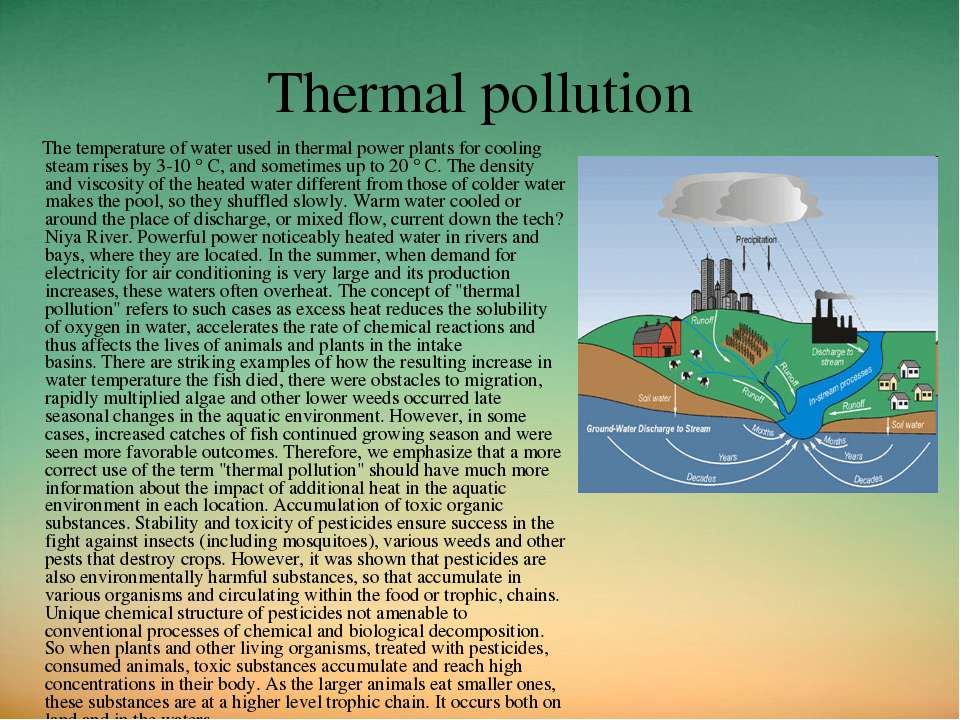 Thermal pollution The temperature of water used in thermal power plants for c...