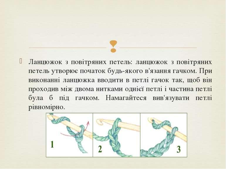 Ланцюжок з повітряних петель: ланцюжок з повітряних петель утворює початок бу...