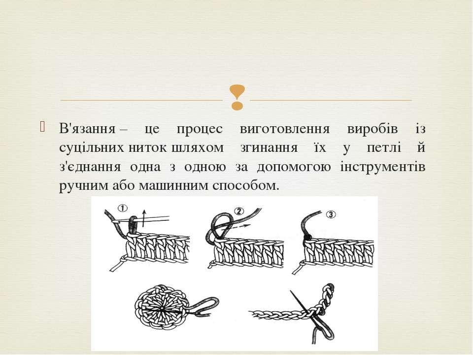 В'язання– це процес виготовлення виробів із суцільнихнитокшляхом згинання ...