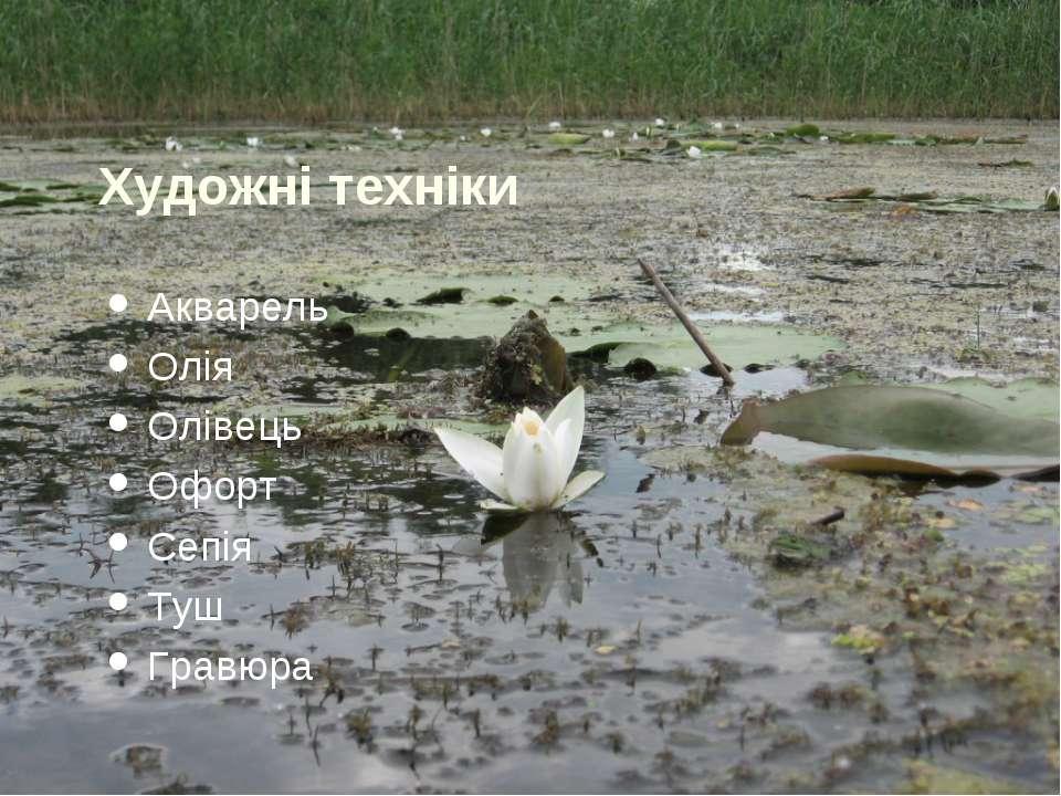 Художні техніки Акварель Олія Олівець Офорт Сепія Туш Гравюра