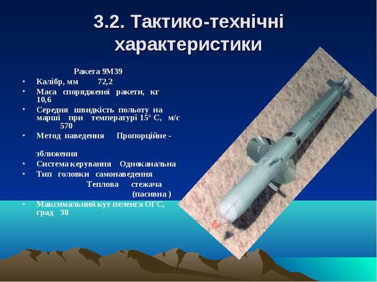 3.2. Тактико-технічні характеристики Ракета 9М39 Калібр, мм 72,2 Маса спорядж...