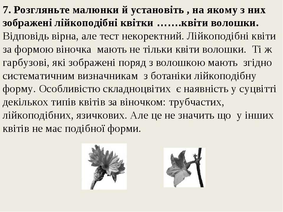 7. Розгляньте малюнки й установіть , на якому з них зображені лійкоподібні кв...