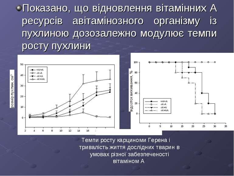 Показано, що відновлення вітамінних А ресурсів авітамінозного організму із пу...