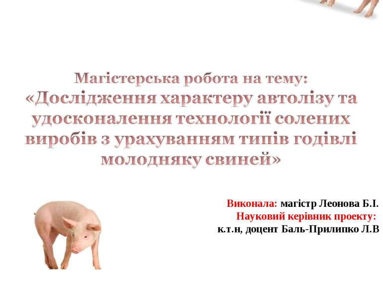 Виконала: магістр Леонова Б.І. Науковий керівник проекту: к.т.н, доцент Баль-...