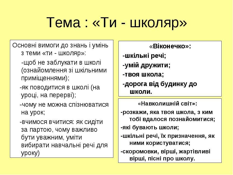 Тема : «Ти - школяр» Основні вимоги до знань і умінь з теми «ти - школяр»: -щ...