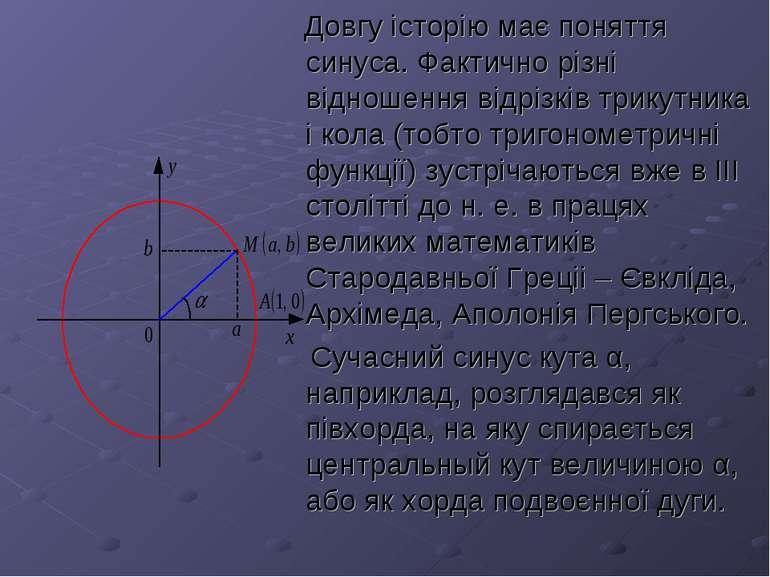 Довгу історію має поняття синуса. Фактично різні відношення відрізків трикутн...