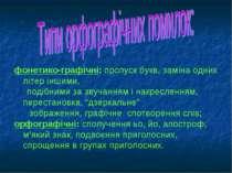 фонетико-графічні: пропуск букв, заміна одних літер іншими, подібними за звуч...