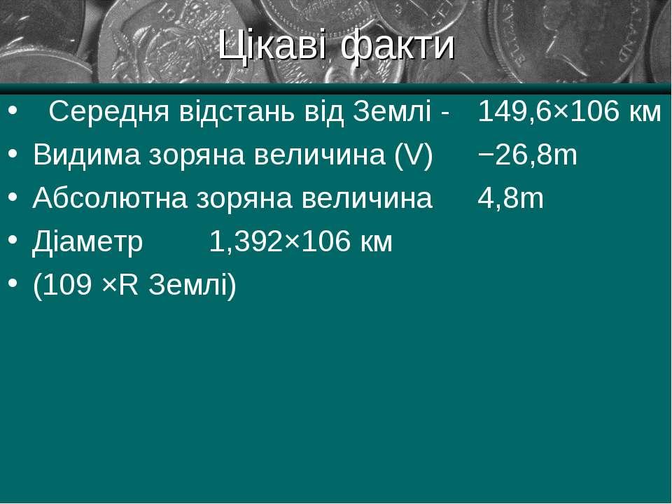 Цікаві факти Середня відстань від Землі - 149,6×106 км Видима зоряна величина...