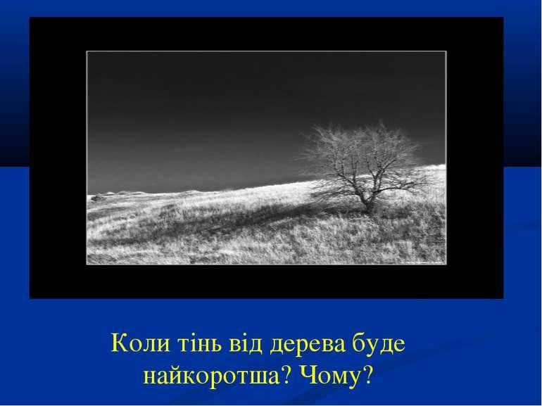Коли тінь від дерева буде найкоротша? Чому?