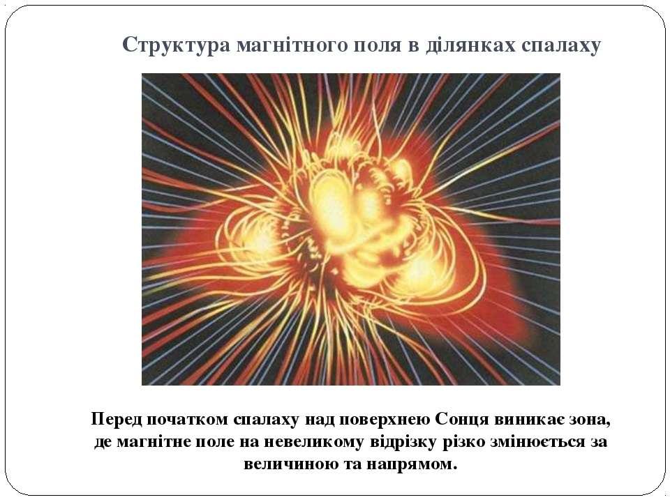 Структура магнітного поля в ділянках спалаху Перед початком спалаху над повер...