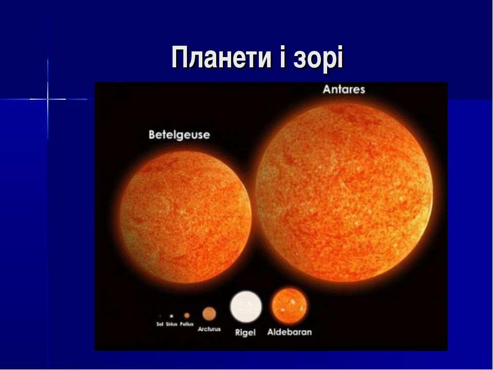 Планети і зорі