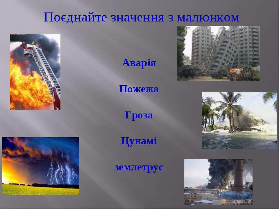 Поєднайте значення з малюнком Аварія Пожежа Гроза Цунамі землетрус
