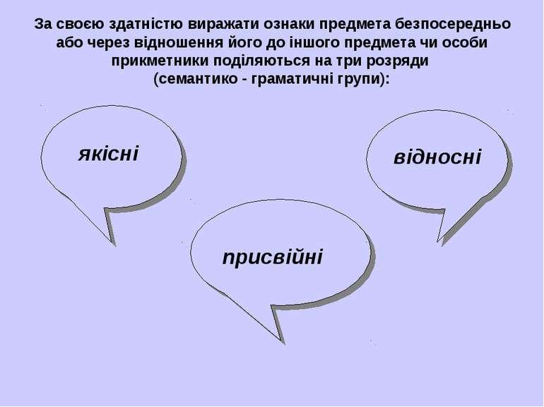 За своєю здатністю виражати ознаки предмета безпосередньо або через відношенн...