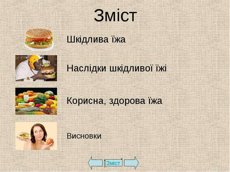 Зміст Зміст Шкідлива їжа Наслідки шкідливої їжі Корисна, здорова їжа Висновки