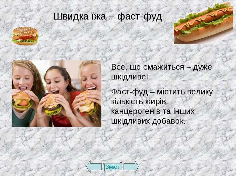 Зміст Швидка їжа – фаст-фуд Все, що смажиться – дуже шкідливе! Фаст-фуд – міс...