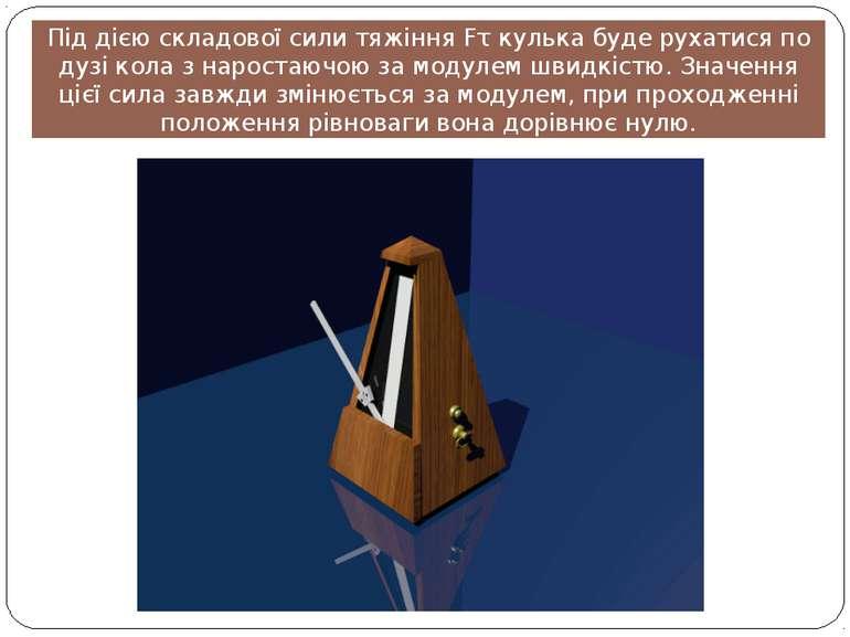Під дією складової сили тяжіння Fτ кулька буде рухатися по дузі кола з нарост...