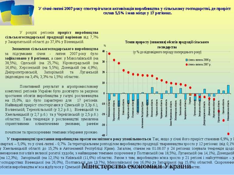 У січні-липні 2007 року спостерігалася активізація виробництва у сільському г...