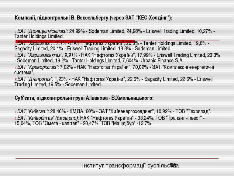 """Компанії, підконтрольні В. Вексельбергу (через ЗАТ """"КЕС-Холдінг""""): ВАТ """"Донец..."""