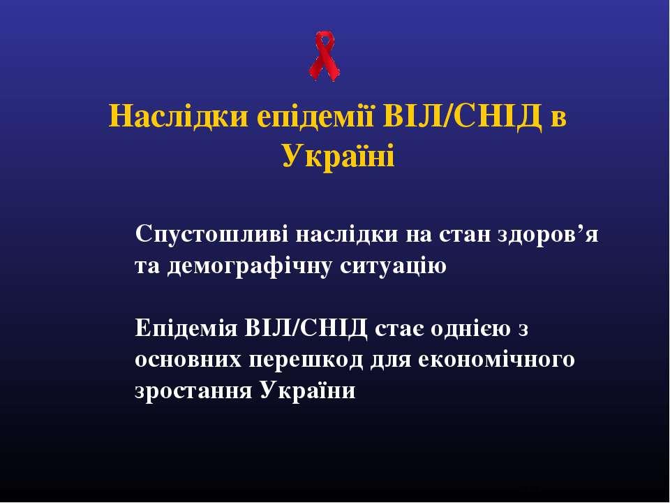 Спустошливі наслідки на стан здоров'я та демографічну ситуацію Епідемія ВІЛ/С...