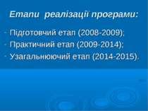Етапи реалізації програми: Підготовчий етап (2008-2009); Практичний етап (200...