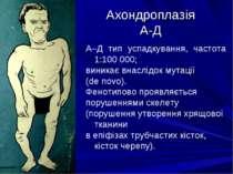 Ахондроплазія А-Д А–Д тип успадкування, частота 1:100 000; виникає внаслідок ...